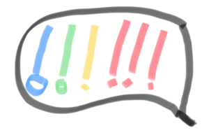 Six colorful exclamation marks in a speech balloon