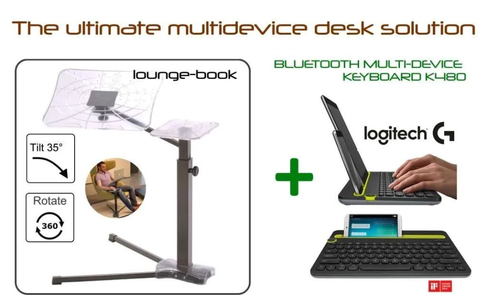 The ultimate desktop solution for your mobile devices with lounge-book and the best multi-device keyboard bluetooth k480 by Logitech