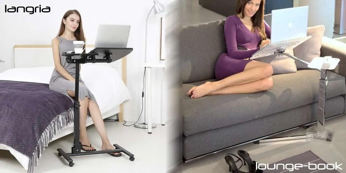 Langria et son chariot pour ordinateur portable à roulettes vs table pour ordinateur portable Lounge-book