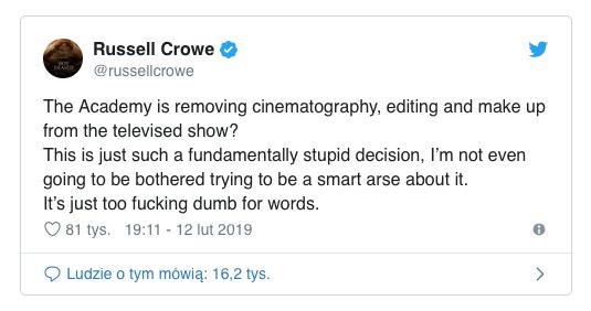 Akademia Filmowa krytykowana! Ostre słowa Russela Crowe Akademia Filmowa krytykowana! Ostre słowa Russela Crowe 2