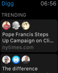 Trending topics on Digg, a news aggregating app