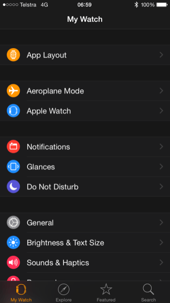Main menu in the Apple Watch app for iOS