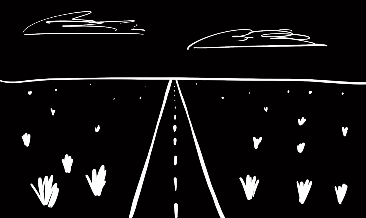 A black-and-white sketch of a road stretching into the distance, meeting the horizon