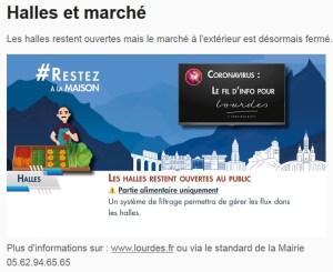 Lourdes : Communiqué de la Mairie : Maintien de l'ouverture des Halles