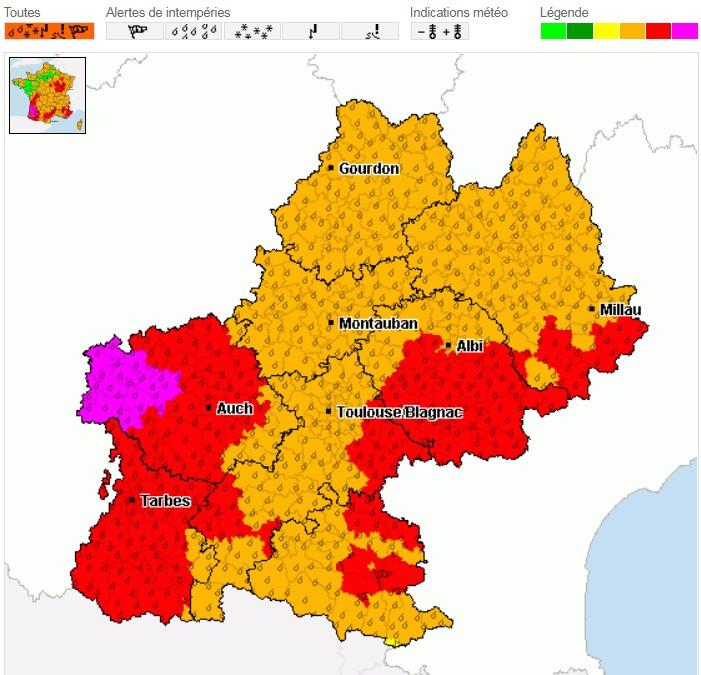 Read more about the article Alertes mauvais temps pour le Midi-Pyrénées