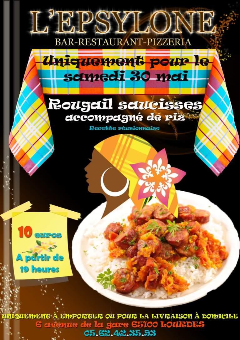 Read more about the article Lourdes : le restaurant «L'Epsylone» vous propose son Rougail saucisses, accompagné de riz (Recette réunionnaise) ce samedi 30 mai