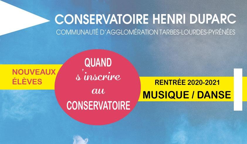 Inscriptions au Conservatoire Henri Duparc de musique et danse de la Communauté d'Agglomération Tarbes-Lourdes-Pyrénées