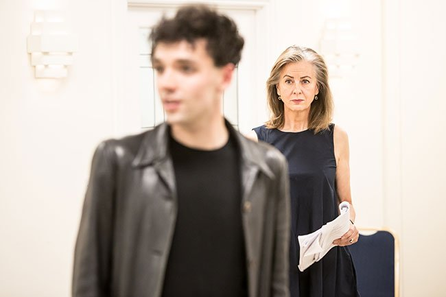 Keith Ramsay and Rebecca Caine in rehearsal.