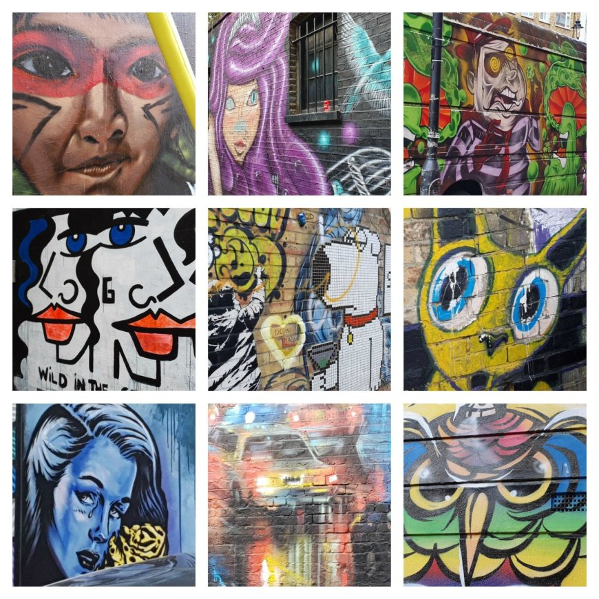 Examples of both legal and illegal street art in Camden