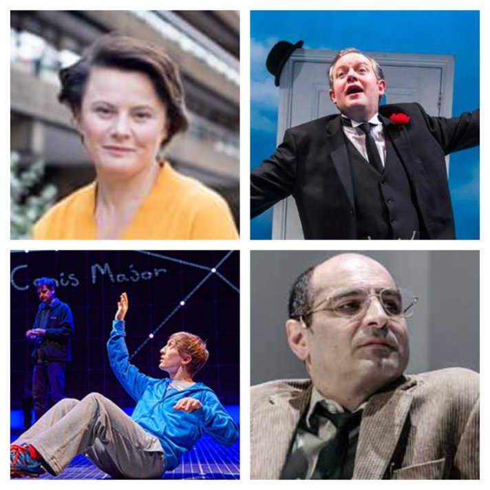 From top left, clockwise: Monica Dolan, Miles Jupp, Zubin Varla, Sam Newton