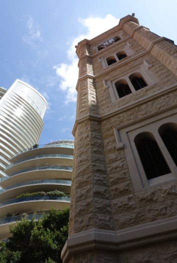 Examples of old and new: churches and high rises