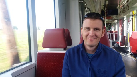 Dan enjoying the train to Vorchdorf