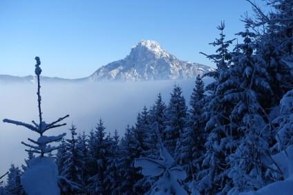 Traunstein poking through the clouds