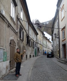 Dan admiring the back streets up to the castle