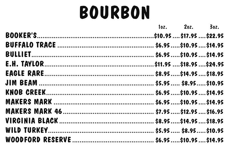 Bourbon Menu