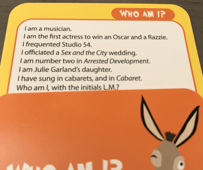 Smart Ass Board Game Who Am I? Question Card
