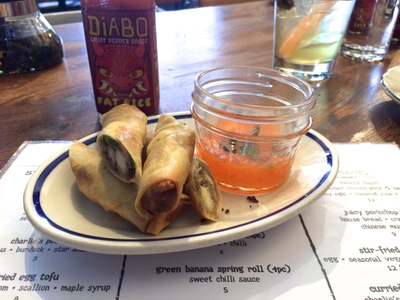 Green Banana Spring Roll-sweet chili sauce ($5)