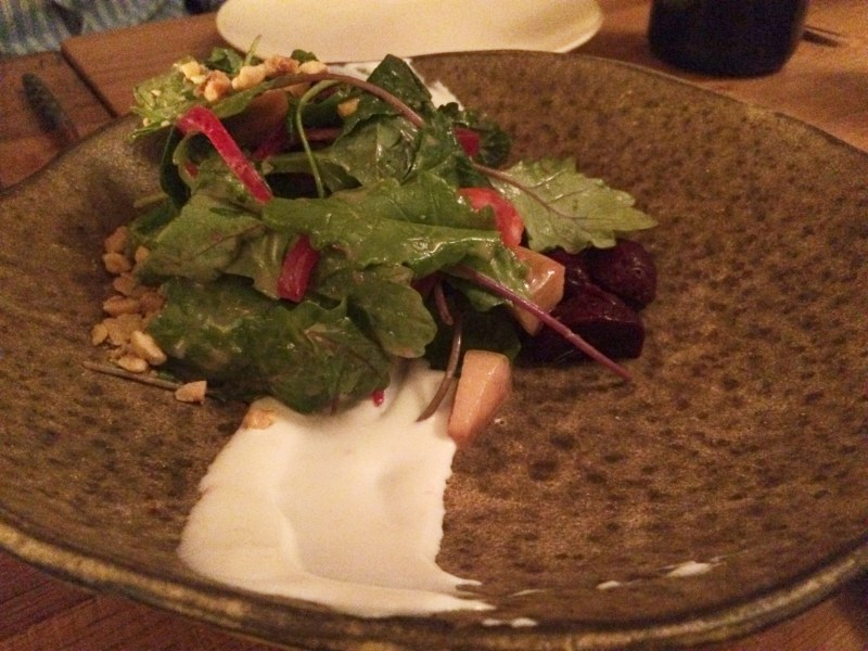 Beet Salad-pickled apples, candied hazelnuts, orange, goat cheese ($13)