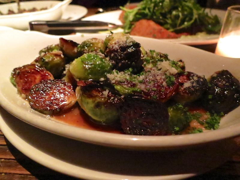 Blackened Brussels Sprouts - Chicken jus, parmesan, chive ($10)