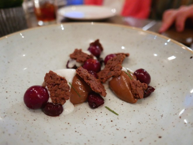 Chocolate pudding, cherries, crunchy stuff