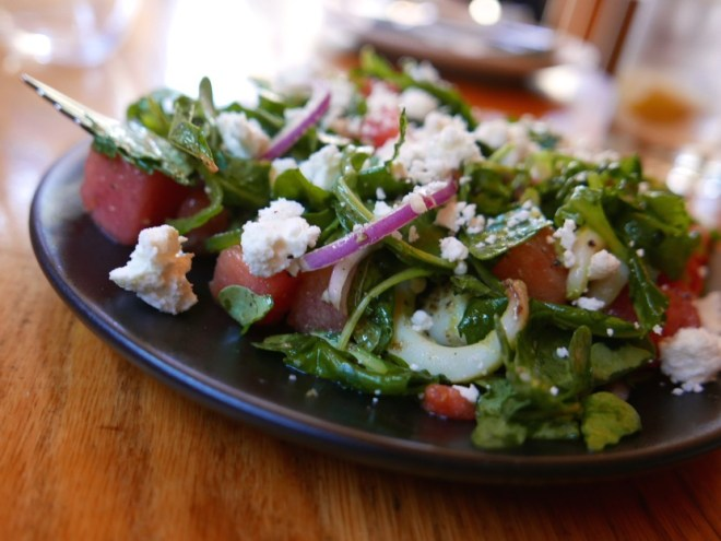 Charred sepia, zhoug, watermelon, red onion, arugula, feta