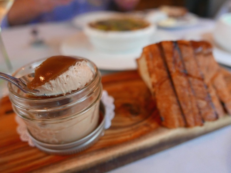 Foie Gras Ganache - Tilton apricot gelee, Maldon sea salt, brioche toast points