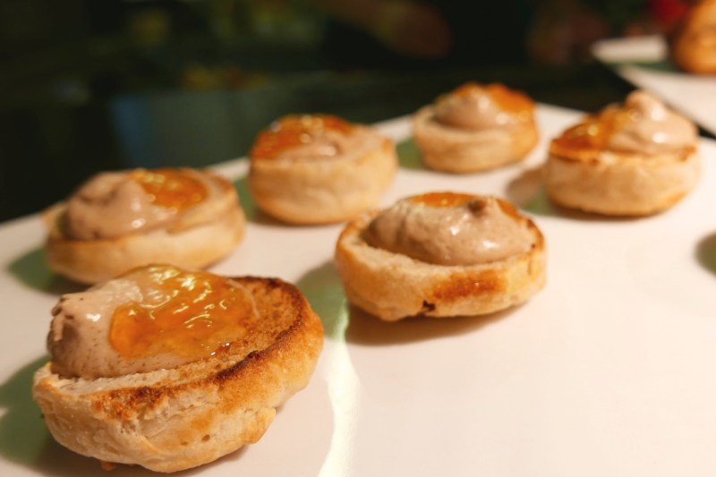 Foie Gras English Muffins, Pickled Stone Fruit