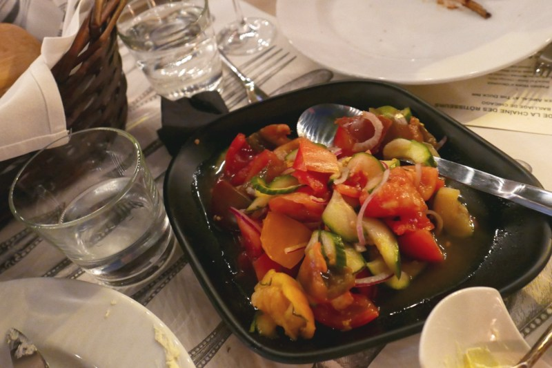 Heirloom Tomato Salad with Pickled Cucumbers at The Duck Inn Chicago