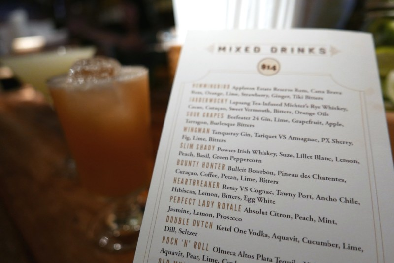 Mixed drinks menu at Dead Rabbit Taproom