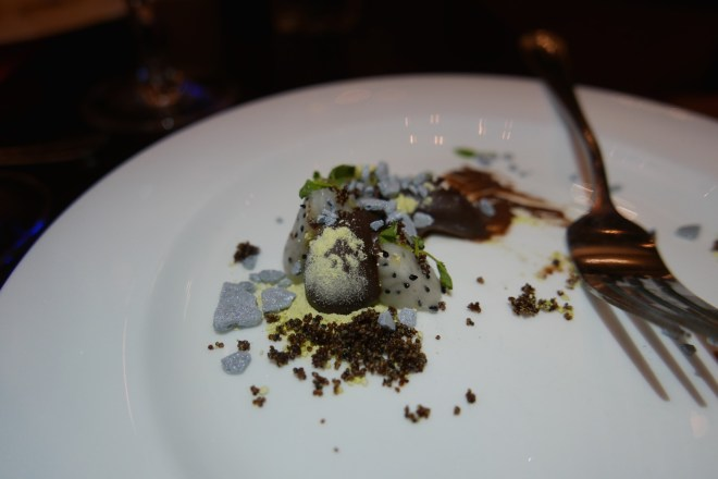 Dessert: Cocao and Chaco Clay chocolate hangar, chaco clay and dragon fruit by Virgilio Martinez