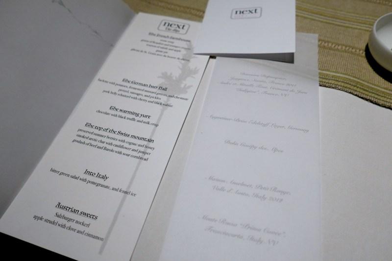 Next Restaurant menu for The Alps