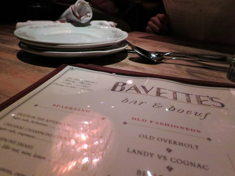 Menu at Bavette's Bar & Boeuf