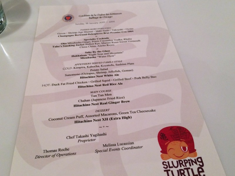 Special Event Menu at Slurping Turtle