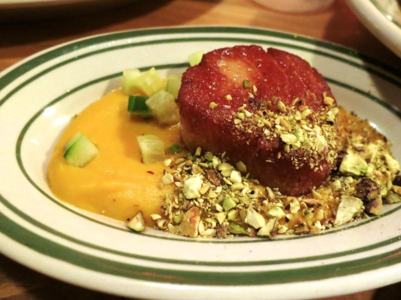 Jumbo Sea Scallop, kabocha-horseradish purée, pistachio