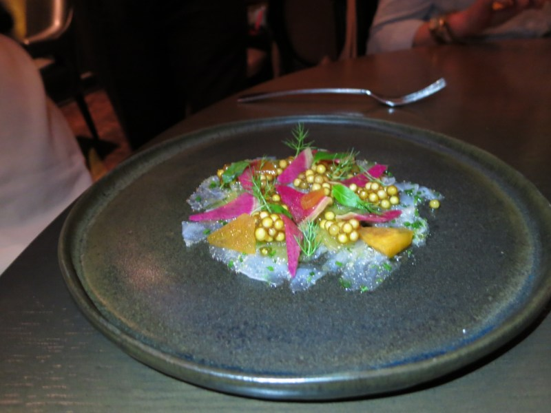 Marinated Fluke with fall radish and pickled watermelon