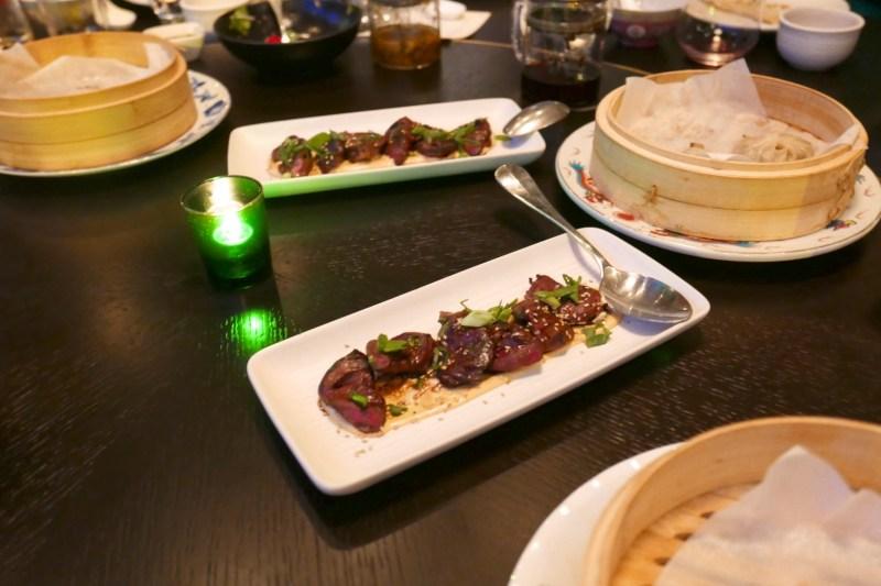 Wood-Fired Duck Hearts, sesame-horseradish sauce