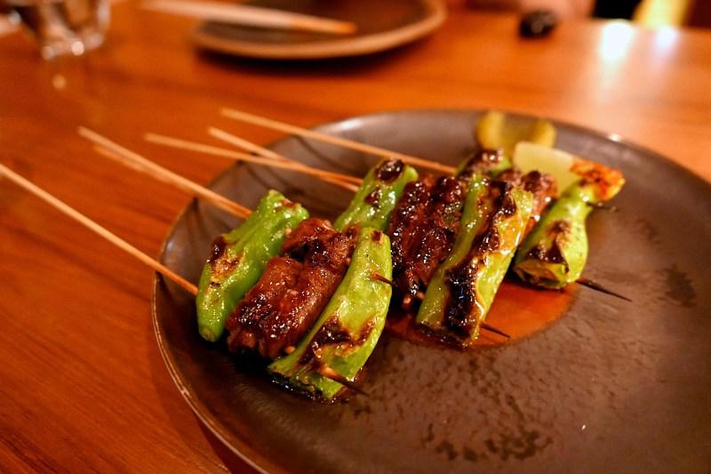 Washugyu, Imperial wagyu skirt steak, shishito, foie gras ($14)