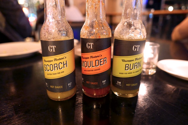 Signature hot sauces, Scorch, Smoulder and Burn
