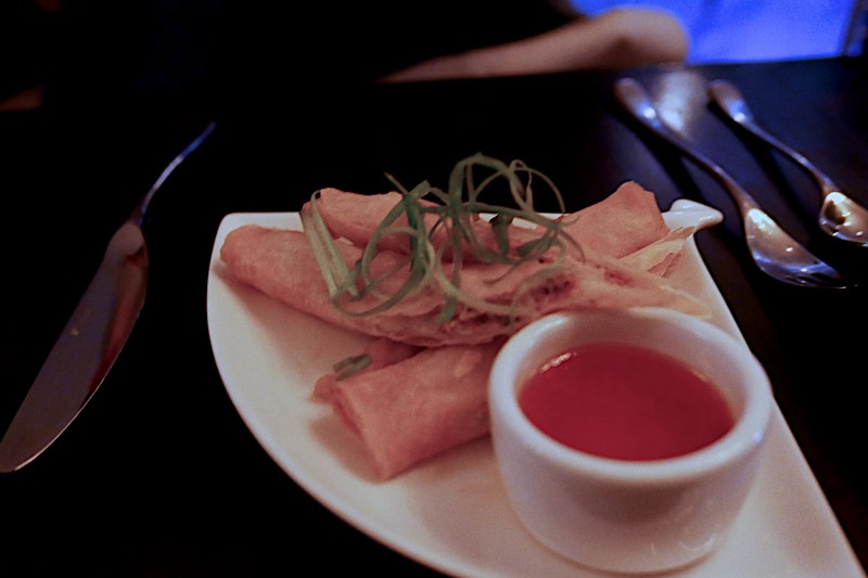 Shrimp and Duck Lumpia, Sweet Chili Sauce ($9)
