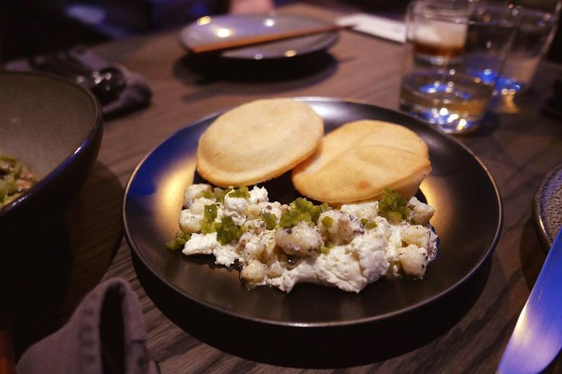 Aged Cheddar Rillettes, truffle, cauliflower, fry bread