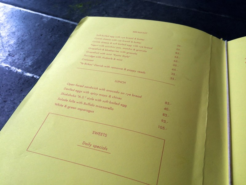 Menu at Atelier September