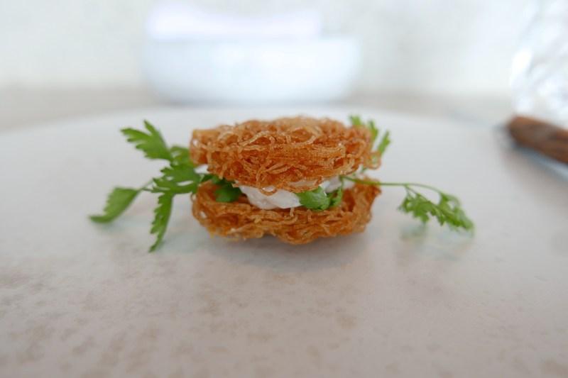 Potato chips, smoked cod roe