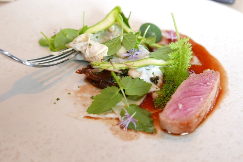 A philosophical take on veal, milk and grass, grilled green asparagus