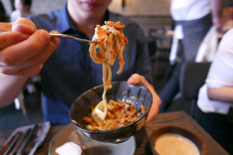 Chicken Skin, egg, noodle (test dish)