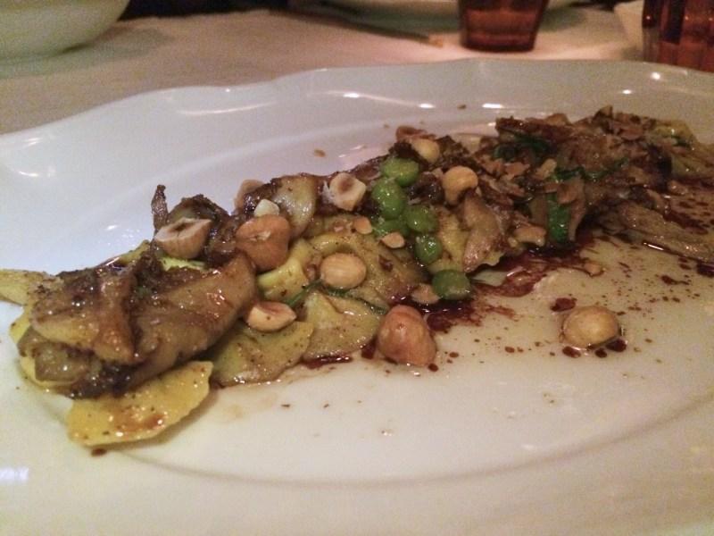Goat Cheese Caramelle, forest mushroom, chickpea, hazelnut, saba ($22)