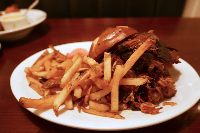 Pulled Pork on Pretzel Bun, Fries