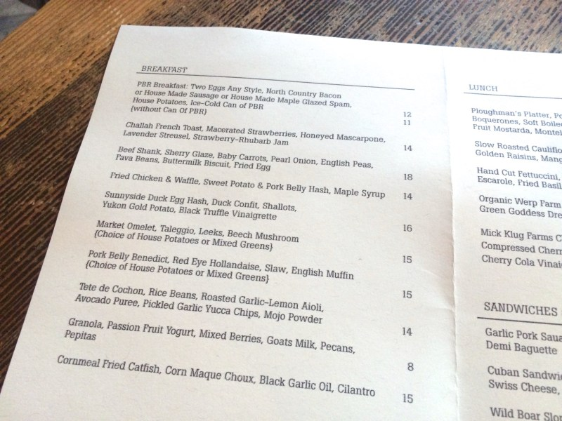 Menu at Longman & Eagle