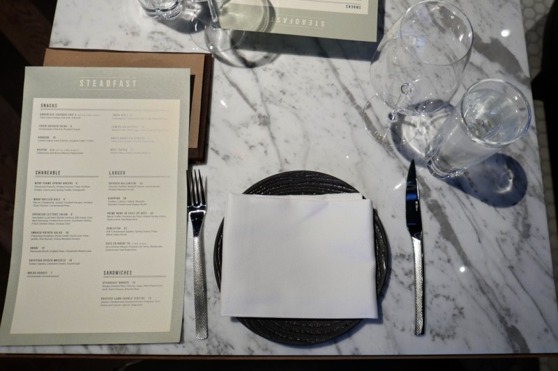 Table setting at Steadfast