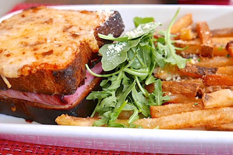 Croque Monsieur, Nueske's Ham, Gruyere Cheese, Mornay Sauce, Fries