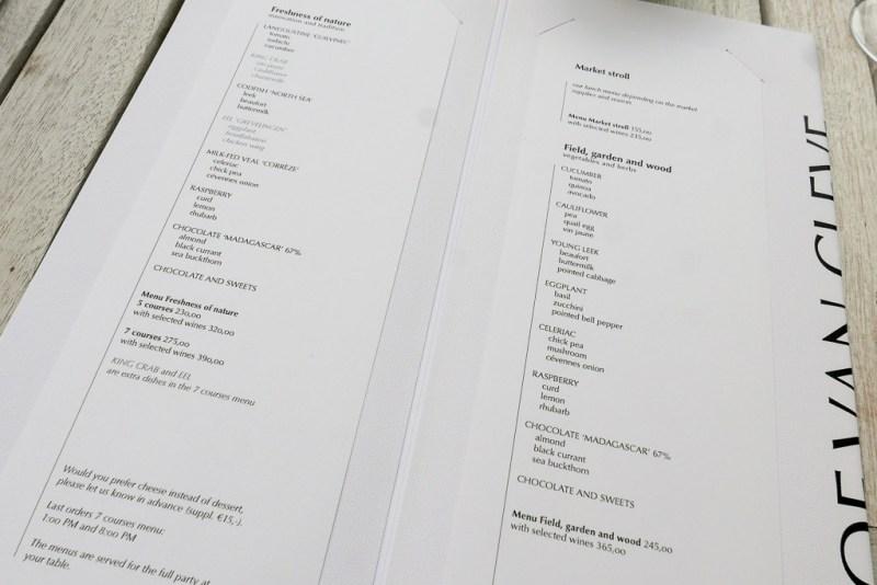 Tasting menu options at Hof Van Cleve